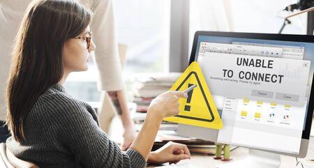 unavailable: Unavailable Unable Connect Notification Concept