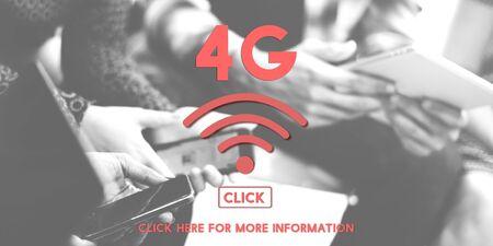 4g: 4G Wireless Internet Networking Online Concept
