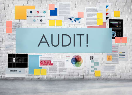 examine: Audit Evaluation Examine Assessment Accounting Concept Stock Photo