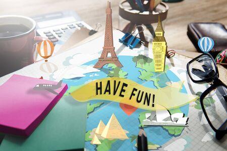 enjoyment: Have Fun Happy Enjoyment Pleasure Joyful Concept