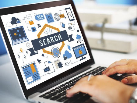 looking for work: Search SEO Media Internet Connection Concept Stock Photo