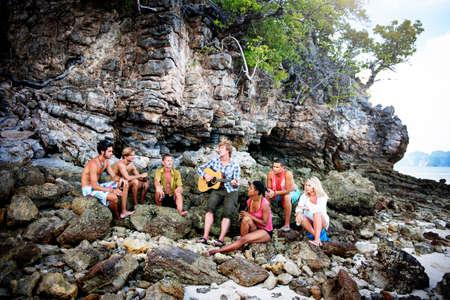 fun in the sun: Friendship Summer Beach Music Fun Concept Stock Photo