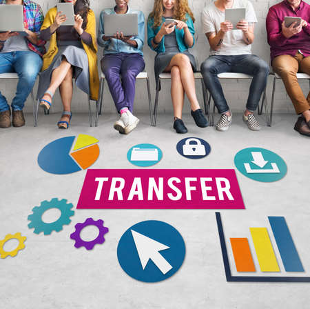 communication devices: Transfer Transmission Word Graphic Concept