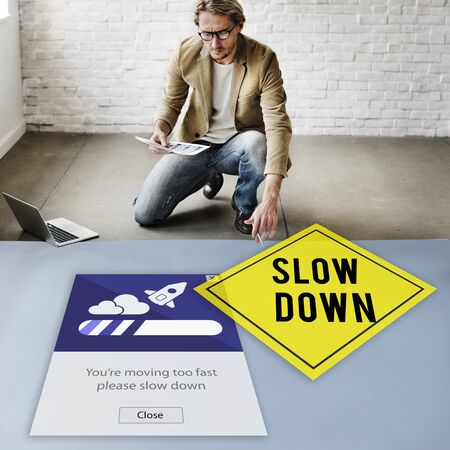 processing speed: Keep Calm Reduce Speed Relax Slow Down Concept Stock Photo
