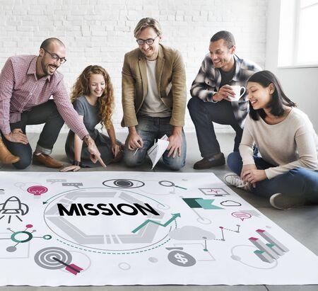 nucleo: La motivación Misión Objetivo concepto de la visión de destino Foto de archivo