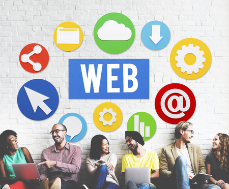 Group of people with web concept Stock Photo
