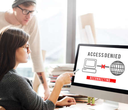 denied: Access Denied Password Protection Safety System Concept Stock Photo