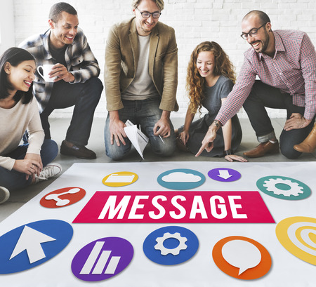 Group of people on the floor with message concept