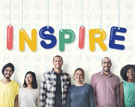 believe: Inspire Hopeful Believe Aspiration Vision Innovate Concept Stock Photo