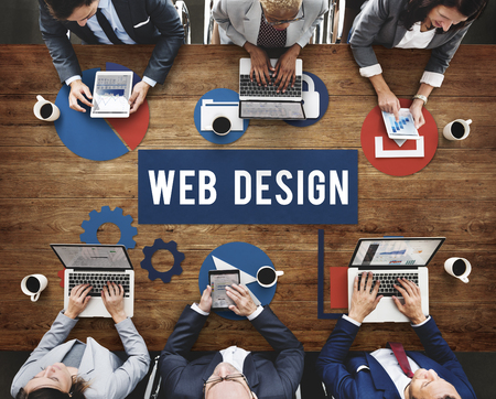 Brainstorming with web design concept Stock Photo