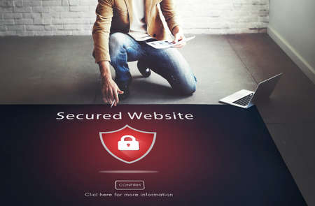 secured: Warning Security Alert Warning Secured Website Concept