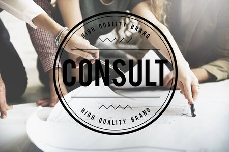 sharing information: Consult Ask Service Sharing Information Concept