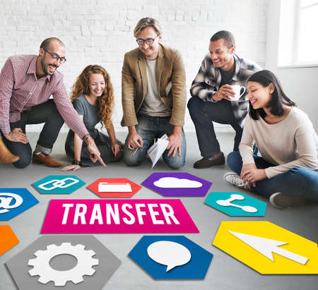 asian business team: Transfer Transmission Word Graphic Concept