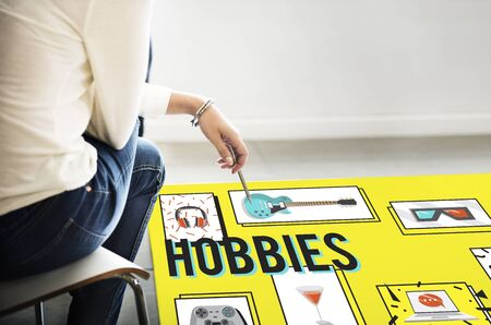 free time: Hobby Free Time Leisure Media Concept Stock Photo