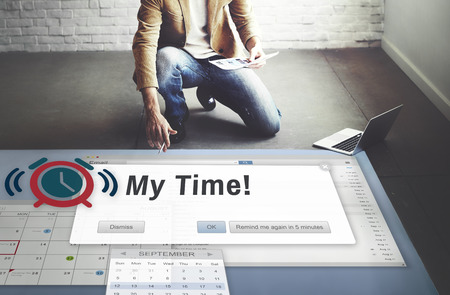 career timing: My Time Action Goal Inspiration Minute Success Concept Stock Photo