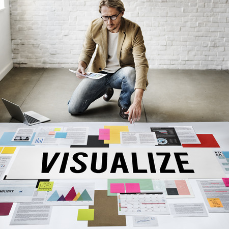 visualize: Visualize Creative Thinking Creativity Design Concept Stock Photo