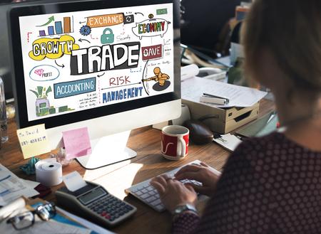 dealing: Trade Export Economy Exchange Finance Concept Stock Photo