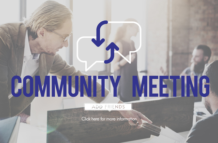 Community meeting concept with people interact in background