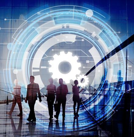 hombres ejecutivos: Red Digital Tecnología Cog Concepto Trabajo en equipo