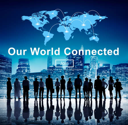 our vision: Our World Connected Networking Link Concept Stock Photo