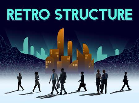 rush hour: Scyscraper Building REtro Structure Urban Concept