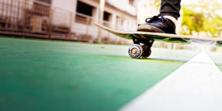 excercise: Skateboarder Lifestyle Style Sneaker Excercise Concept Stock Photo
