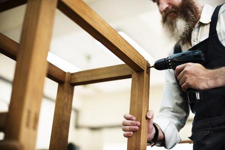 Carpenter Craftmanship Carpentry Handicraft Wooden Workshop Concept Stock Photo