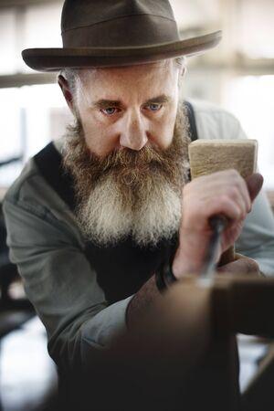 craftmanship: Carpenter Craftmanship Carpentry Handicraft Wooden Workshop Concept Stock Photo