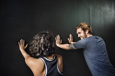 boy gymnast: Partner Training Stretching Workout Concept