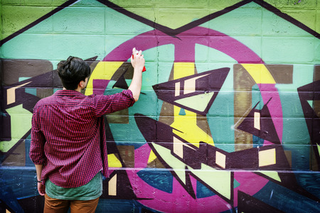 recreational pursuit: Graffiti Street Art Culture Spray Abstract Concept Stock Photo