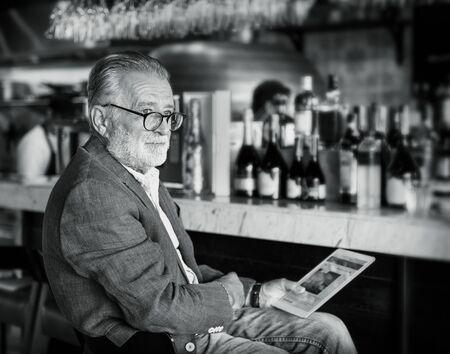 night club: Senior Man Hangout Drinking Alcohol Night Club Concept
