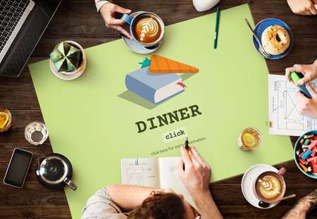 meal preparation: Dinner Cook Book Meal Preparation Concept Stock Photo