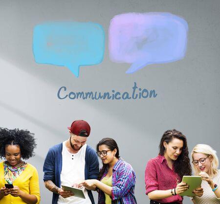 young group: Speech Bubble Communication Conversation Technology Concept Stock Photo