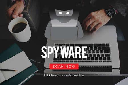 spyware: Spyware Malware Scam Spam Virus Concept Stock Photo