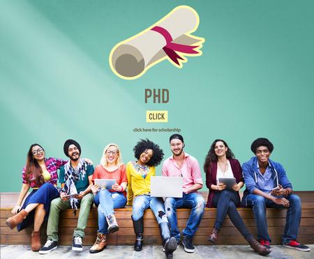 PhD Doctor en Filosofía Educación graduación Concepto Grado Foto de archivo