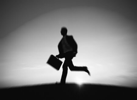working hour: Businessman Running Rush Hour Working Concept
