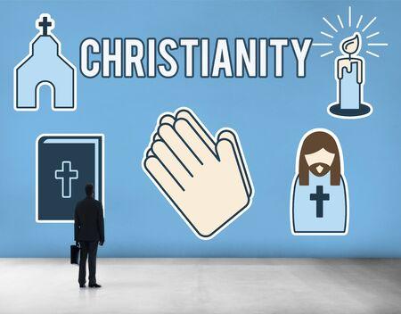 jesus standing: Christiannity Church Cross Crucifix Faith Religion Concept