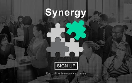sinergia: Synergy Collaboration Cooperation Teamwork Concept Foto de archivo