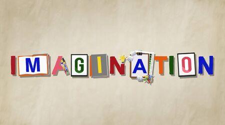 envision: Imagination Creative Word Design Colorful Concept Stock Photo
