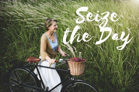 Ergreifen Sie den Tag Collect Moment Vergnügen Positive Konzept Standard-Bild