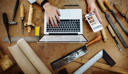 craftmanship: Carpenter Craftmanship Carpentry Handicraft Wooden Workshop Concept Editorial