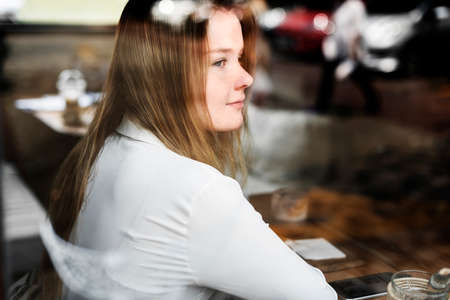 contemplation: Young Girl Cafe Relaxation Contemplation Leisure Concept Stock Photo