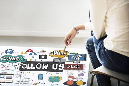 followers: Follow us Social Media Connection Followers Concept