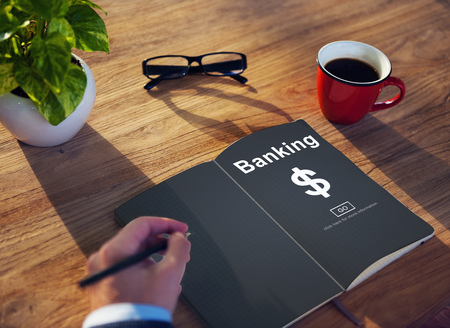 Banking concept in a book