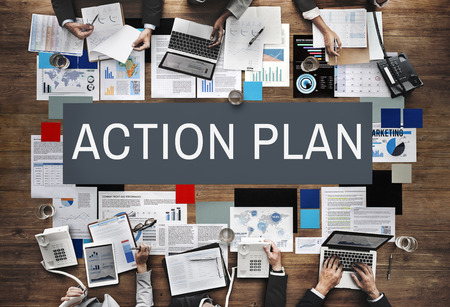 plan de accion: Plan de Acci�n para el Proceso Estrategia concepto de la visi�n Foto de archivo