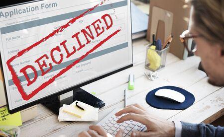 Geweigerd geweigerd Negatief documentformulierconcept