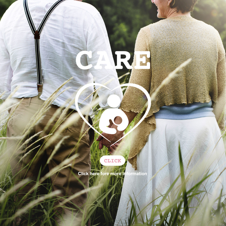 mature adult: Care Children Maternity Heart Life Concept Stock Photo