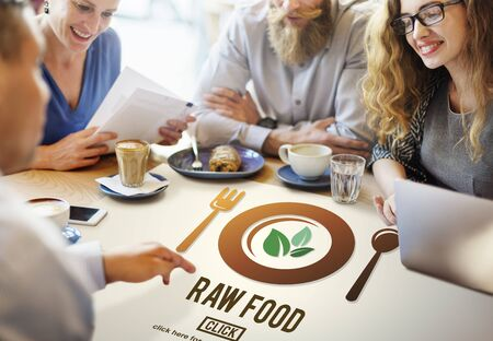 small business team: Raw Food Eating Healthy Lifestyle Concept Stock Photo