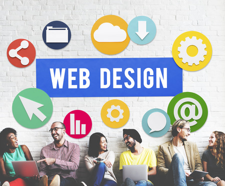Group of people with website concept Banco de Imagens