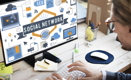 Social network concept on computer